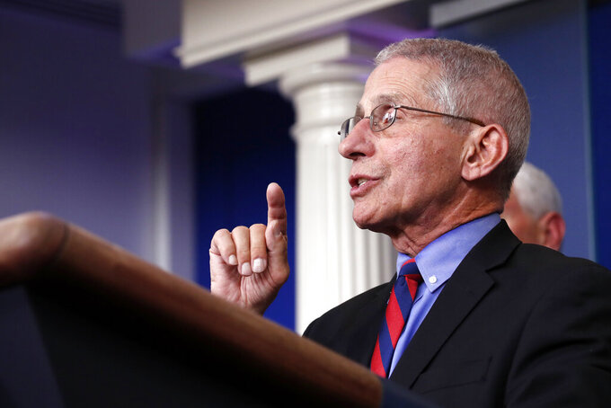 Dr. Anthony Fauci, director of the National Institute of Allergy and Infectious Diseases, speaks about the coronavirus in the James Brady Briefing Room, Wednesday, March 25, 2020, in Washington. (AP Photo/Alex Brandon)