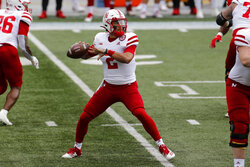 Nebraska quarterback Adrian Martinez throws a pass against Ohio State during the first half of an NCAA college football game Saturday, Oct. 24, 2020, in Columbus, Ohio. (AP Photo/Jay LaPrete)