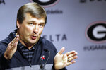 FILE - In this March 19, 2019, file photo, Georgia coach Kirby Smart speaks during an NCAA college football news conference in Athens, Ga. Georgia  fully expects to contend for a national championship. Now, the Bulldogs have to show they can finish the job after coming tantalizingly close the last two seasons. (Joshua L. Jones/Athens Banner-Herald via AP, File)