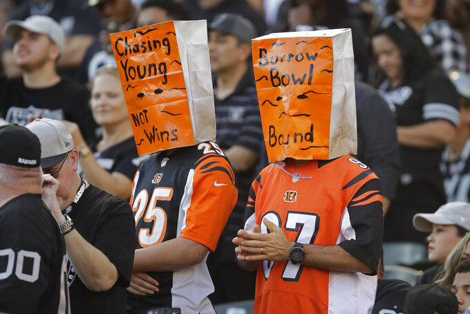 The Latest: Bengals fall to 0-10, eliminated from contention