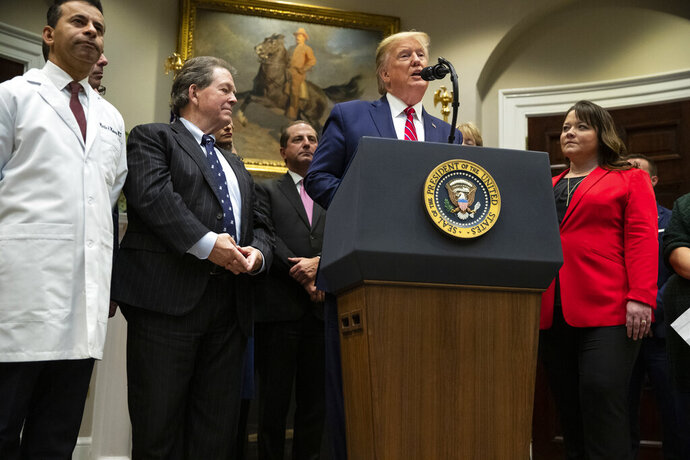 President Donald Trump speaks during an event on healthcare prices in the Roosevelt Room of the White House, Friday, Nov. 15, 2019, in Washington. (AP Photo/ Evan Vucci)