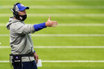 New York Giants head coach Joe Judge instructs from the sideline during the first half of an NFL football game against the Los Angeles Rams Sunday, Oct. 4, 2020, in Inglewood, Calif. (AP Photo/Ashley Landis)