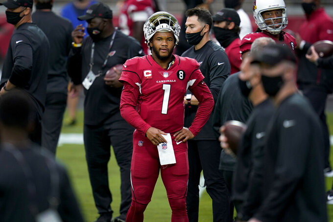 Arizona Cardinals quarterback Kyler Murray (1) warms up prior to an NFL football game against the Detroit Lions, Sunday, Sept. 27, 2020, in Glendale, Ariz. (AP Photo/Ross D. Franklin)