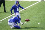 New York Giants' Graham Gano (5) kicks a field goal during the first half of an NFL football game against the Washington Football Team, Sunday, Oct. 18, 2020, in East Rutherford, N.J. (AP Photo/John Minchillo)