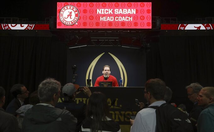 Alabama head coach Nick Saban speaks during media day for the NCAA college football playoff championship game Saturday, Jan. 5, 2019, in Santa Clara, Calif. (AP Photo/Chris Carlson)