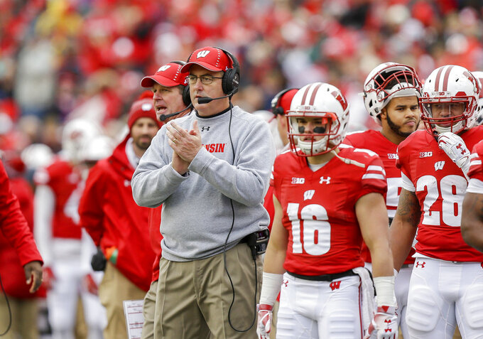 Wisconsin head coach Paul Chryst watches during the first half of an NCAA college football game against Illinois, Saturday, Oct. 20, 2018, in Madison, Wis. (AP Photo/Andy Manis)