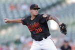 Baltimore Orioles starting pitcher Aaron Brooks throws to a Toronto Blue Jays batter during the first inning of a baseball game Friday, Aug. 2, 2019, in Baltimore. (AP Photo/Julio Cortez)