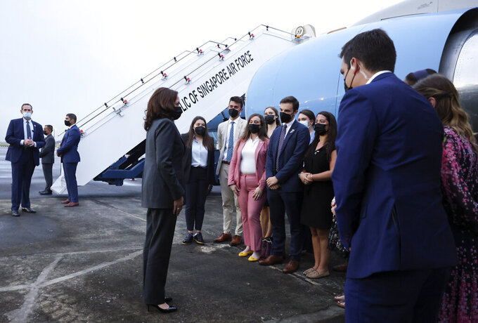 U.S. Vice President Kamala Harris departs Singapore for Vietnam, Tuesday, Aug. 24, 2021. (Evelyn Hockstein/Pool Photo via AP)