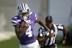 Kansas State wide receiver Malik Knowles (4) runs during the first half of an NCAA college football game against Bowling Green Saturday, Sept. 7, 2019, in Manhattan, Kan. (AP Photo/Charlie Riedel)