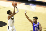 Purdue guard Eric Hunter Jr. (2) goes up for a 3-pointer against Indiana State during the first half of an NCAA men's basketball game, Saturday, Dec. 12, 2020, in West Lafayette, Ind. (Nikos Frazier/Journal & Courier via AP)