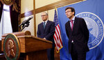 Gov. Jay Inslee, left, and Attorney General Bob Ferguson address a news conference following an earlier announcement that Washington's Supreme Court unanimously struck down the state's death penalty, Thursday, Oct. 11, 2018, in Olympia, Wash. Washington has had a moratorium on executions since 2014, but the ruling makes it the 20th state to do away with capital punishment by legislative act or court decree. The court converted the sentences of the eight people on Washington's death row to life in prison. (AP Photo/Rachel La Corte)