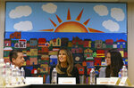 First lady Melania Trump, joined by Alexia Jo Rodriguez, Southwest Key Vice President, right, and Geraldo Gabriel Rivera, Southwest Key Associate Vice President, left, participates in a roundtable discussion at Southwest Key Campbell, a shelter for children that have been separated form their parents stay in Phoenix, Ariz., Thursday, June 28, 2018. The first lady is in the area to view additional immigration facilities. (AP Photo/Carolyn Kaster)