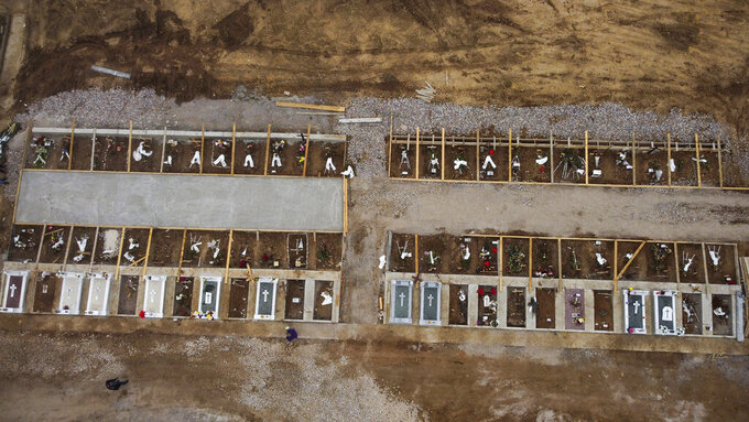 An aerial view of graves in a cemetery set up for victims of COVID-19, in the northern city of Thessaloniki, Greece, Saturday, Dec. 26, 2020. In Greece's second-largest city, Thessaloniki, victims of the pandemic are buried in quarantined sections of two cemeteries, angering many relatives already heartbroken that their loved ones died with no or little family contact. (AP Photo/Giannis Papanikos)