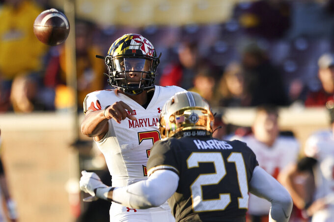 Maryland quarterback Taulia Tagovailoa (3) throws the ball during the second half of an NCAA college football game against Minnesota, Saturday, Oct. 23, 2021, in Minneapolis. (AP Photo/Stacy Bengs)