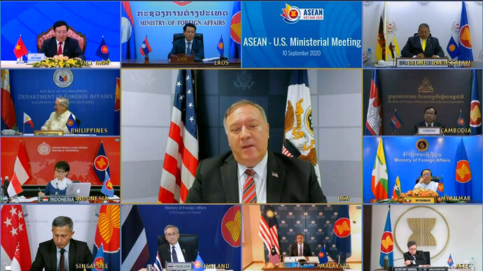 This image taken from video provided by VTV shows U.S. Secretary of State Mike Pompeo speaking during an online meeting with ASEAN foreign ministers on Thursday, Sept. 10, 2020. During the meeting, Pompeo slashed out on China saying Beijing does not respect fundamental democratic values and urged ASEAN nations to act against China's dominance. (VTV via AP)