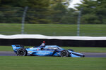 Max Chilton, of England, steers his car during a practice session for an IndyCar auto race at Indianapolis Motor Speedway, Thursday, Oct. 1, 2020, in Indianapolis. (AP Photo/Darron Cummings)