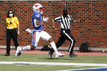 SMU wide receiver Reggie Roberson Jr. runs into the end zone for a touchdown during the first half of an NCAA college football game against Memphis in Dallas, Saturday, Oct. 3, 2020. (AP Photo/Roger Steinman)