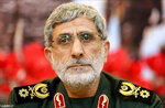 FILE - This undated file photo released by the official website of the office of the Iranian supreme leader, shows Maj. Gen. Esmail Ghaani. Esmail Ghaani as the new commander of the Revolutionary Guard's Quds Force. Soleimani was killed in the U.S. airstrike in Iraq. Iraqi militia leaders were expecting the usual bags of cash when the new head of Iran's expeditionary Quds Force , a successor Soleimani, paid his first visit. Instead, Esmail Ghani brought them silver rings, as tokens of gratitude. The episode, relayed by several officials, illustrates Iran's struggle to maintain influence abroad as it grapples with the economic fallout from crushing U.S. sanctions and the coronavirus. (Office of the Iranian Supreme Leader via AP, File)