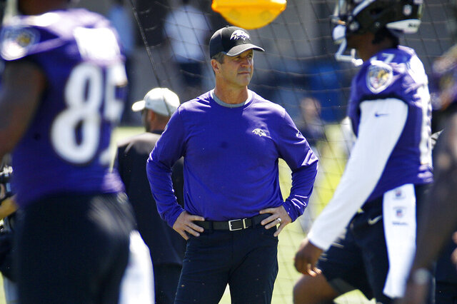 FILE - In this July 19, 2018, file photo, Baltimore Ravens head coach John Harbaugh watches an NFL football training camp practice at the team's headquarters in Owings Mills, Md. As Baltimore prepares to defend its AFC North title and becoming a Super Bowl contender, Harbaugh must keep his players and coaching staff safe while overseeing position battles and ultimately finalizing the roster for the Sept. 13 opener against Cleveland. (AP Photo/Patrick Semansky, File)