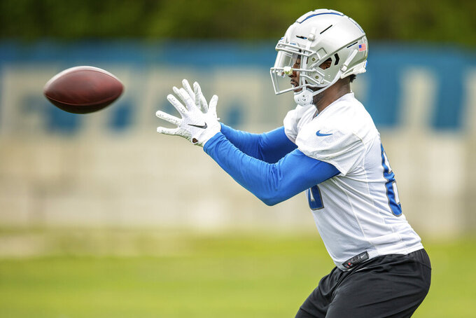 Detroit Lions tight end Michael Roberts (80) during Day 1 of OTAs on Monday, May 20, 2019 in Allen Park, Mich. (Detroit Lions via AP)