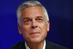 FILE - Republican Utah gubernatorial candidate and former ambassador Jon Huntsman Jr. looks on during a debate on May 20, 2020, in Salt Lake City. Huntsman was an enormously popular governor, scion of a prominent family and ambassador under two presidents to America's biggest global rivals, so he should be a political force to be reckoned with. But his comeback attempt came fell short in a GOP primary as he contended with a crushing pandemic and a fresh-faced opponent. He was narrowly beaten Monday, July 6, 2020 by Lt. Gov. Spencer Cox (AP Photo/Rick Bowmer, File)