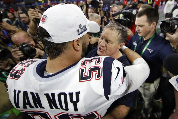 New England Patriots' Kyle Van Noy (53) hugs head coach Bill Belichick after the NFL Super Bowl 53 football game against the Los Angeles Rams, Sunday, Feb. 3, 2019, in Atlanta. The Patriots won 13-3. (AP Photo/Matt Rourke)