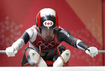 Kimberley McRae of Canada starts her third run during the women's luge final at the 2018 Winter Olympics in Pyeongchang, South Korea, Tuesday, Feb. 13, 2018. (AP Photo/Michael Sohn)