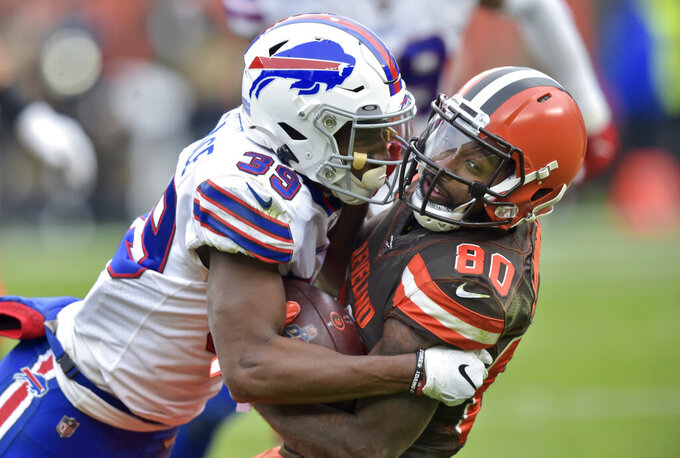 Buffalo Bills defensive back Levi Wallace (39) tackles Cleveland Browns wide receiver Jarvis Landry (80) during the second half of an NFL football game, Sunday, Nov. 10, 2019, in Cleveland. (AP Photo/David Richard)