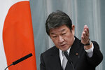 Toshimitsu Motegi, Minister for Foreign Affairs gestures as he speaks during a press conference at the prime minister's official residence Wednesday, Sept. 16, 2020, in Tokyo. (AP Photo/Eugene Hoshiko)