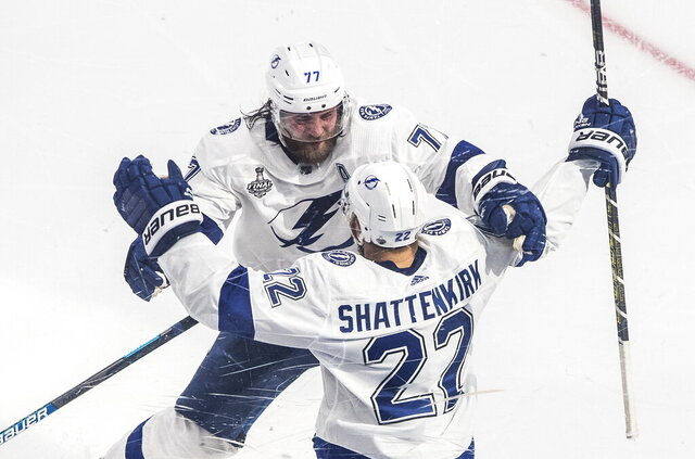 Tampa Bay Lightning defenseman Kevin Shattenkirk (22) celebrates his goal against the Dallas Stars with Victor Hedman (77) during overtime in Game 4 of the NHL hockey Stanley Cup Final, Friday, Sept. 25, 2020, in Edmonton, Alberta. (Jason Franson/The Canadian Press via AP)