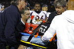 Oakland Raiders cornerback Gareon Conley leaves the game on a stretcher after an injury during the second half of an NFL football game against the Denver Broncos Monday, Sept. 9, 2019, in Oakland, Calif. (AP Photo/Ben Margot)