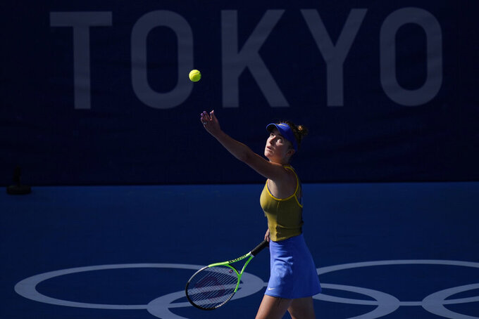 Elina Svitolina, of the Ukraine, plays Maria Sakkari, of Greece, during the third round of the tennis competition at the 2020 Summer Olympics, Tuesday, July 27, 2021, in Tokyo, Japan. (AP Photo/Seth Wenig)