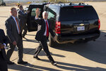 Vice President Mike Pence walks to the motorcade after greeting supporters after arriving at the Wilkes-Barre/Scranton International Airport in Pittston Township, Pa., on Monday, Oct. 21, 2019. Pence visited northeastern Pennsylvania to speak on trade at the Advanced Optics Schott North plant in nearby Duryea, Pa. (Christopher Dolan/The Times-Tribune via AP)