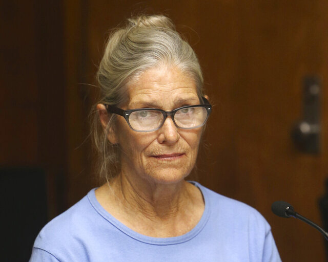 FILE - In this Sept. 6, 2017, file photo, Leslie Van Houten attends her parole hearing at the California Institution for Women in Corona, Calif. California Gov. Gavin Newson has reversed parole for Charles Manson follower Leslie Van Houten, marking the fourth time a governor has blocked her release, Saturday, Nov. 28, 2020. A California panel recommended parole in July for Van Houten, who has spent nearly five decades in prison. Newsom reversed her release once previously and his predecessor, Jerry Brown, blocked it twice.(Stan Lim/Los Angeles Daily News via AP, Pool, File)