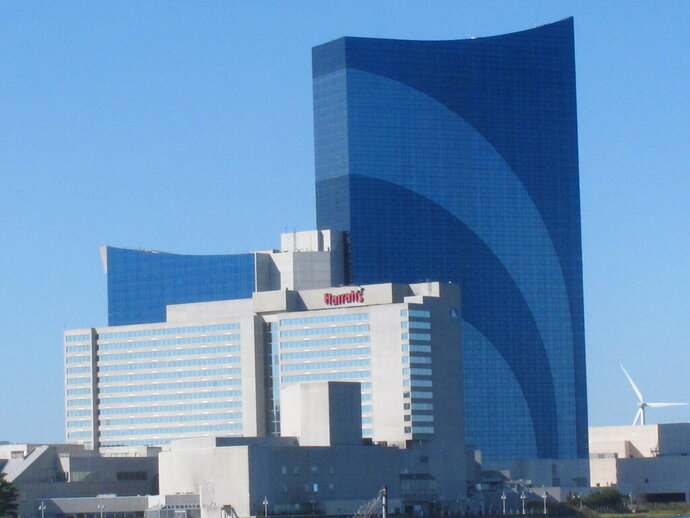 This Oct. 1, 2020 photo shows the exterior of Harrah's casino in Atlantic City N.J. On Jan. 25, 2021, parent company Caesars Entertainment named Gregg Klein to oversee the property. (AP Photo/Wayne Parry)