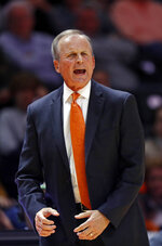 Tennessee head coach Rick Barnes yells to his players during the second half of an NCAA college basketball game against Chattanooga Monday, Nov. 25, 2019, in Knoxville, Tenn. (AP Photo/Wade Payne)