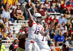 Richmond quarterback Joe Mancuso (12) looks to pass during the first half of an NCAA college football game against Boston College, Saturday, Sept. 7, 2019, in Boston. (AP Photo/Mary Schwalm)