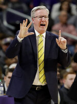Iowa head coach Fran McCaffery directs his players during the second half of an NCAA college basketball game against Northwestern, Wednesday, Jan. 9, 2019, in Evanston, Ill. Iowa won 73-63. (AP Photo/Nam Y. Huh)
