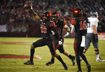 San Diego State cornerback Darren Hall (23) celebrates after intercepting a Nevada pass during the first half of an NCAA college football game Saturday, Nov. 9, 2019, in San Diego. (AP Photo/Denis Poroy)