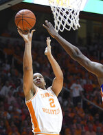 Tennessee forward Grant Williams (2) scores against Florida in an NCAA college basketball game, Saturday, Feb. 9, 2019, in Knoxville, Tenn. (Joy Kimbrough/The Daily Times via AP)