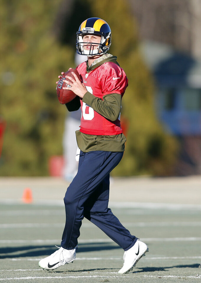 Los Angeles Rams quarterback Jared Goff (16) throws a pass during practice for the NFL Super Bowl 53 football game against the New England Patriots, Thursday, Jan. 31, 2019, in Flowery Branch, Ga. (AP Photo/John Bazemore)