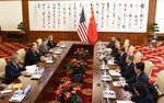 Chinese State Councilor and Foreign Minister Wang Yi, fourth from right, meets with U.S. Secretary of State Mike Pompeo, second from left, at the Diaoyutai State Guesthouse in Beijing Monday, Oct. 8, 2018. (Daisuke Suzuki /Pool Photo via AP)