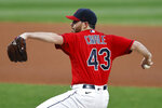 Cleveland Indians pitcher Aaron Civale delivers against the Pittsburgh Pirates during the first inning of a baseball game, Saturday, Sept. 26, 2020, in Cleveland. (AP Photo/Ron Schwane)