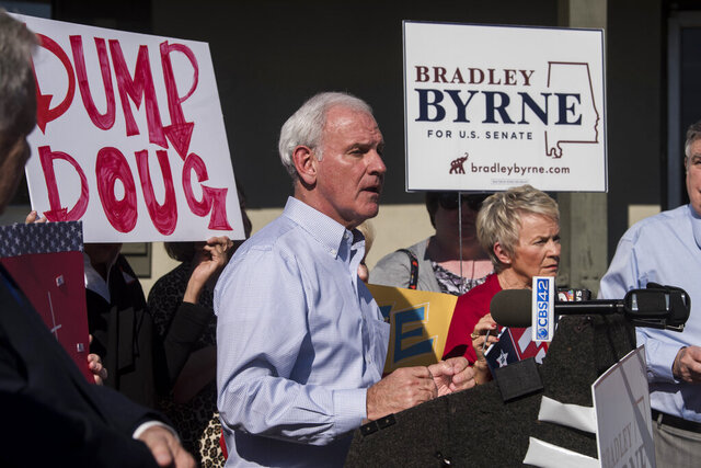 U.S. Senate candidate Bradley Byrne speaks to supporters at Farmers Market Cafe in Montgomery, Ala., on Tuesday, Jan. 28, 2020.  (Jake Crandall/Montgomery Advertiser via AP)