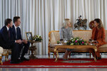 Ivanka Trump, the daughter and senior adviser to President Donald Trump, is greeted by Princess Lalla Meryem of Morocco as she arrives in Rabat, Morocco, Wednesday, Nov. 6, 2019, where she will promote a global economical program for women. Sean Cairncross, CEO of the Millennium Challenge Corporation, second from left, and David Greene, Charge d'Affaires of the Moroccan Embassy, left.   (AP Photo/Jacquelyn Martin)