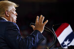 FILE - In this Wednesday, July 17, 2019 file photo, President Donald Trump speaks at a campaign rally at Williams Arena in Greenville, N.C. (AP Photo/Carolyn Kaster)