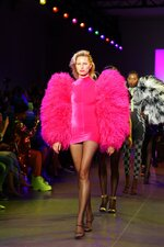 Karolina Kurkova models fashion from the Christian Cowan collection during Fashion Week in New York on Tuesday, Sept. 10, 2019. (AP Photo/Ragan Clark)