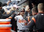 Baltimore Orioles' Renato Nunez (39) is greeted by teammates after hitting a three-run home run during the first inning of a baseball game against the New York Yankees at Yankee Stadium, Sunday, March 31, 2019, in New York. (AP Photo/Seth Wenig)