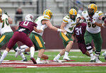 Southern Illinois safety Clayton Bush (0) forces a fumble by North Dakota State quarterback Zeb Noland (8) during the third quarter of an NCAA college football game Saturday, Feb. 29, 2021, in Carbondale, Ill. (Byron Hetzler/The Southern Illinoisan via AP)