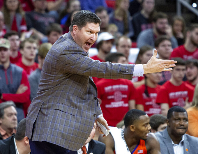 Clemson coach Brad Brownell shouts to his team during the first half of an NCAA college basketball game against North Carolina State in Raleigh, N.C., Saturday, Jan. 26, 2019. (AP Photo/Ben McKeown)